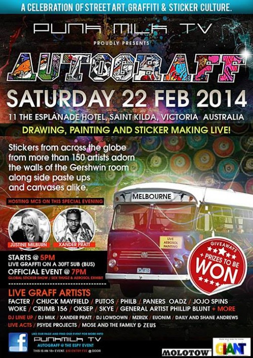 autograff1 500x707 Event & Exhibition Autograff @ The Espy in street art genres stickers genres melbourne live art urban art graffiti genres exhibitions
